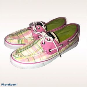 SPERRY TOPSIDER PINK PLAID BOATSHOES 7